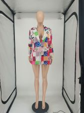 Fashion Splice Plaid Print Blazer SMF-8109