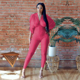 Sexy Solid V Neck Ruched Open Back Jumpsuit ATDF-65007