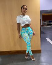 Casual Printed T Shirt And Pants 2 Piece Suits LSD-81011