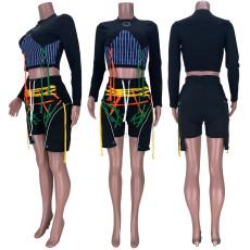 Casual Webbing Bandage Long Sleeve 2 Piece Shorts Set MDF-5251