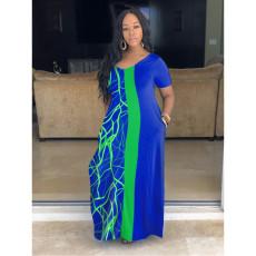 Plus Size Short Sleeve Loose Print Long Dress SHE-7265
