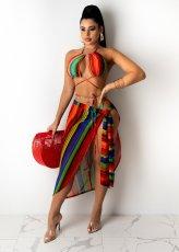Sexy Striped Bandage Swimwear Bikinis 3 Piece Sets CHY-1322