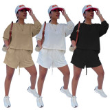 Solid Long Sleeve Sweatshirt And Shorts 2 Piece Suits TMF-80061