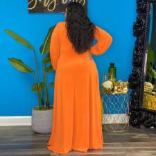 Plus Size Solid Long Sleeve V Neck High Split Maxi Dress NNWF-7279