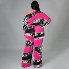 Plus Size Printed Off Shoulder Sashes Jumpsuit NNWF-7275c