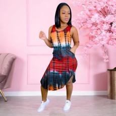 Tie Dye Sleeveless Pocket Midi Dress NSFF-8070