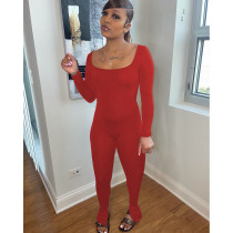 Sexy Solid Backless Long Sleeve Skinny Jumpsuit IV-8239