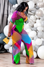 Colorful Printed V Neck Sashes Wide Leg Jumpsuit ANNF-6092