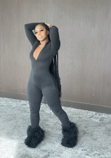 Sexy Solid Long Sleeve Zipper Stacked Jumpsuit ZMDF-9127