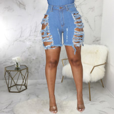 Plus Size Denim Ripped Hole Jeans Shorts HSF-2583