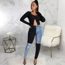 Plus Size Denim Patchwork Skinny Jeans HSF-2595