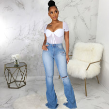 Plus Size Denim Ripped Hole Flared Jeans HSF-2582
