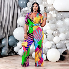 Plus Size Printed 3/4 Sleeve V Neck Jumpsuit Without Belt QSF-51031