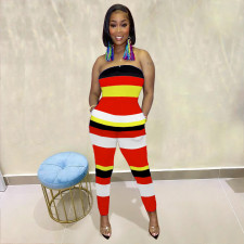 Sexy Off Shoulder Striped Tube Jumpsuit RSN-7113