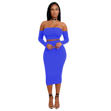 Sexy Solid Off Shoulder Lace-Up Top Midi Skirt 2 Piece Sets MZ-2225