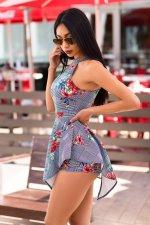 Floral Print Sleeveless Backless Romper MZ-2278