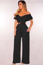 Sexy Solid Ruffled Off Shoulder Jumpsuit Without Belt MZ-2276