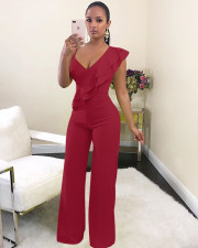 Sexy Solid V Neck Ruffled High Waist Jumpsuit MZ-2288