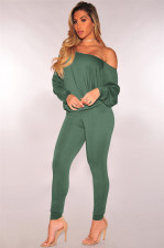 Solid Oblique Shoulder Long Sleeve 2 Piece Pants Set MZ-2254