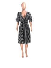 Casual Striped V Neck High Waist Sashes Midi Dress YMT-1009