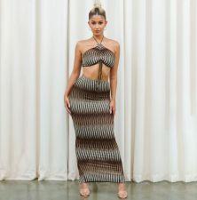 Sexy Printed Halter Crop Top Split Maxi Skirt 2 Piece Sets YIBF-6104