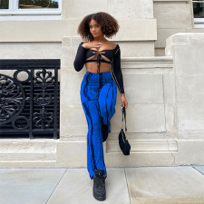 Sexy Long Sleeve Crop Top Flared Pants 2 Piece Sets YNB-7209