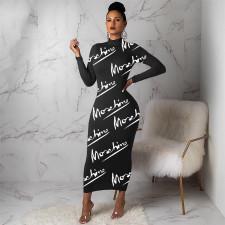 Plus Size Letter Print Long Sleeve Maxi Dress YNB-7214