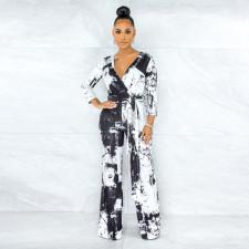 Inkjet Print V Neck Long Sleeve Sashes Jumpsuit YNB-7213