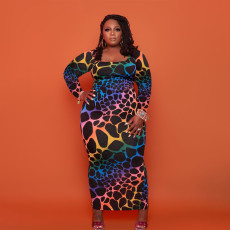 Plus Size Casual Printed Long Sleeve Maxi Dress YAOF-80058