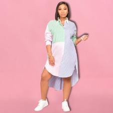Casual Loose Striped Long Sleeve Irregular Shirt Dress BDF-8096