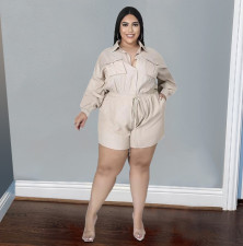 Plus Size Solid Long Sleeve Casual Romper BENF-LY8048