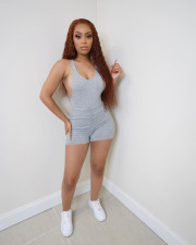 Sexy Ruched Sleeveless Backless Romper BENF-LY8040
