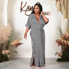 Plus Size Striped Half Sleeve Loose Maxi Shirt Dress HNIF-HN041