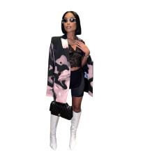 Plus Size Casual Printed Long Sleeve Blazer Coat HNIF-HN045