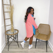 Plus Size Contrast Color Long Sleeve Shirt Dress HNIF-HN031