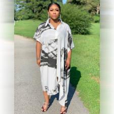 Plus Size Printed Casual Loose Irregular Shirt Dress HNIF-HN001