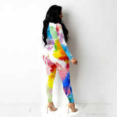 Sexy Printed Hollow Out Long Sleeve Jumpsuit YPKF-0834