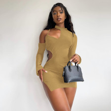 Sexy Solid Hollow Out Long Sleeve Mini Dress XINF-60031