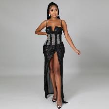 Sexy Sequin Split Club Long Sling Dress CYA-9197