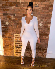 Casual Solid Long Sleeve Tight Jumpsuit SNIF-568043