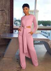 Solid Long Sleeve Split Top And Pants Two Piece Suits OXF-8090