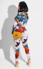 Sexy Printed Tie-Up Long Sleeve Top And Pants 2 Piece Sets PQF-8058