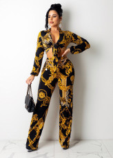 Sexy Printed Tie-Up Long Sleeve Top And Pants 2 Piece Suits (Without Chain)QZX-6229