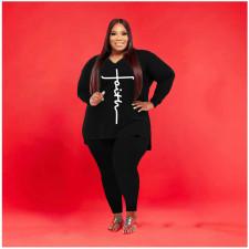 Plus Size Casual V Neck Split Top And Pants 2 Piece Suits YFS-10024
