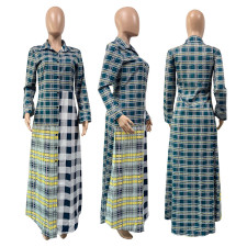 Plus Size Striped Full Sleeve Buttons Long Shirt Dress GLF-10032