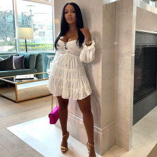 White Lace-Up Long Sleeve Mini Dress YNB-7216