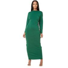 Solid V Neck Long Sleeve Ruched Maxi Dress YMEF-5036