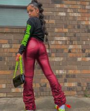 PU Leather Mid-Waist Piles Pants LX-2001