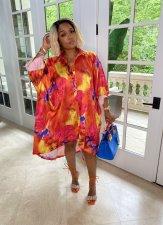 Casual Printed Full Sleeve Loose Shirt Dress WY-6835