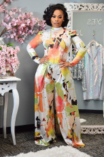 Casual Printed Long Sleeve Wide Leg Pants 2 Piece Suits RUF-8944